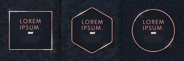 Satz abstrakter luxusschwarzmusterdesignhintergrund mit geometrischem roségoldrahmen.