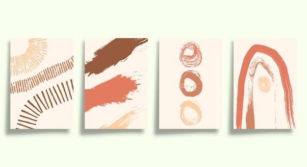 Satz abstrakter minimalistischer typografie mit handgezeichneten formen für poster, flyer, broschürencover oder andere druckprodukte. vektor-illustration.