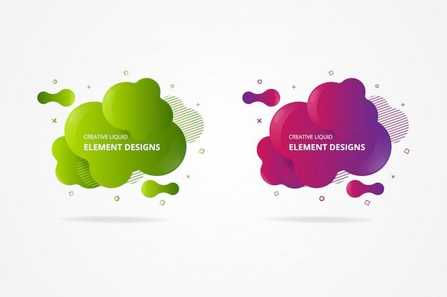 Satz abstrakter moderner grafischer elemente. dynamische farbige formen und linien. abstrakte banner mit grünem und rotem farbverlauf mit fließenden flüssigen formen. vorlage für die gestaltung eines flyers oder einer präsentation.