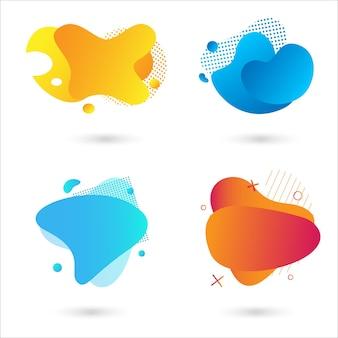 Satz abstrakter moderner grafischer elemente. dynamische farbige formen und linien. gradient abstrakte banner mit fließenden flüssigen formen. vorlage für die gestaltung eines logos, flyers oder einer präsentation. vektor