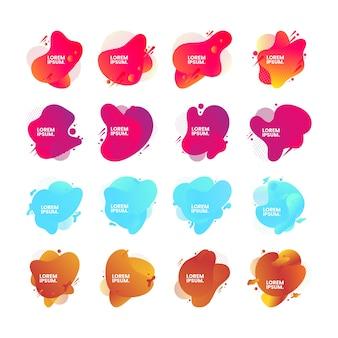 Satz abstrakter moderner grafischer elemente. dynamische farbige formen und linien. gradient abstrakte banner mit fließenden flüssigen formen.