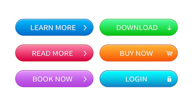 Satz abstrakter moderner schnittstellentasten. fertige vorlage von vektorknöpfen verschiedener farben für das webdesign