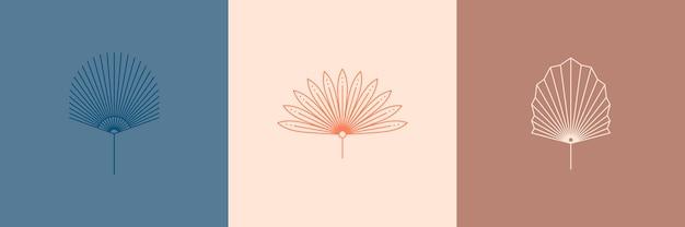 Satz abstrakter palmblätter in einem trendigen minimalen linearen stil. vektor-tropisches blatt-boho-emblem. blumenillustration zum erstellen von logos, mustern, t-shirt-drucken, tätowierungen, social-media-posts und geschichten