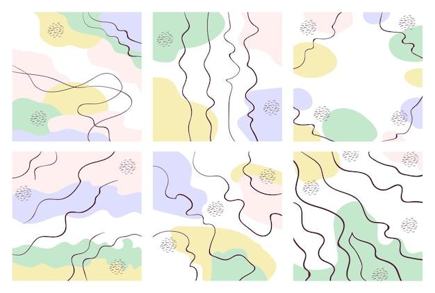 Satz abstrakter quadratischer hintergrund in pastellfarben mit geschwungenen linien geometrischer memphis-textur
