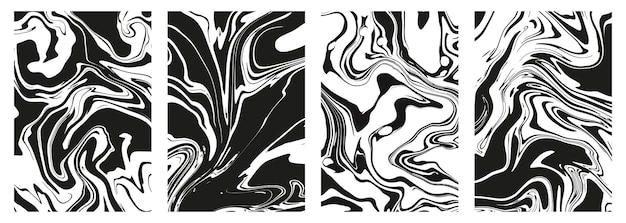 Satz abstrakter schwarzer marmor- oder epoxidbeschaffenheiten auf einem weißen hintergrund. druckt mit grafischen, stilvollen flüssigtintenflecken. trendige hintergründe für cover-designs, einladungen, hüllen, geschenkpapier.