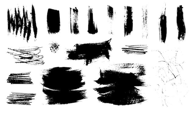 Satz abstrakter texturen mit trockenen pinselstrichen