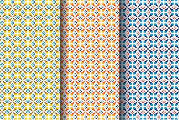 Satz abstraktes geometrisches musterdesign. anwendbar für abdeckungen, beleg, plakate, flieger und fahne.