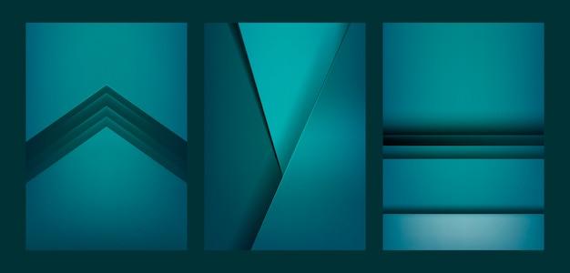 Satz abstraktes hintergrunddesign im grün