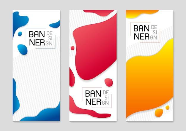 Satz abstraktes stehendes fahnenhintergrunddesign von flüssigen farben