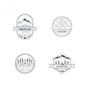 Satz abzeichenentwurf für outdoor-aktivitäten. strichzeichnungen illustration. bergexpedition, outdoor-camp, wildnis, naturerlebnis.