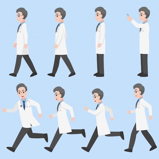 Satz ärzte charakter design in verschiedenen aktion cartoon flach gesundheitskonzept.