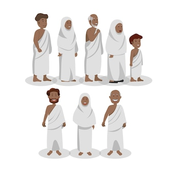 Satz afrikanische moslems, die ihram während des hajj tragen