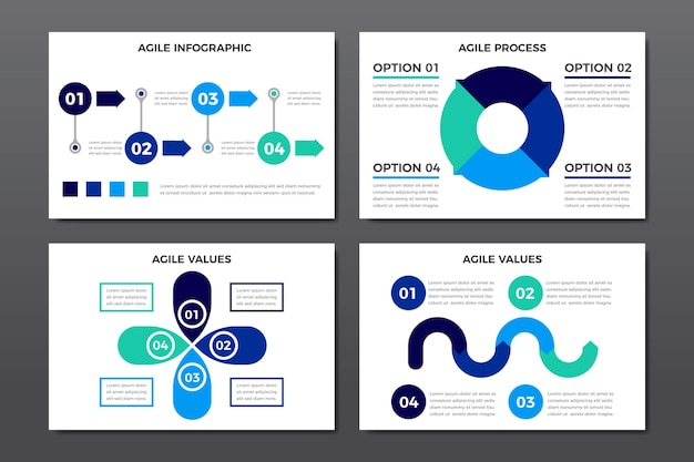 Satz agiler grafiken mit wichtigen informationen