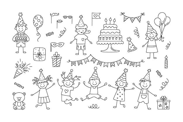 Satz alles gute zum geburtstag-gekritzel. skizze von partydekoration, lustigen kindern, geschenkbox und süßen kuchen mit kerzen
