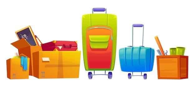 Satz alte dinge gepäck, koffer und gepäcktaschen, kindertafel, schraubenschlüssel, fledermaus und waschmittel in pappe und holzkisten lokalisiert auf weißem hintergrund. karikaturillustration, ikone, clipart