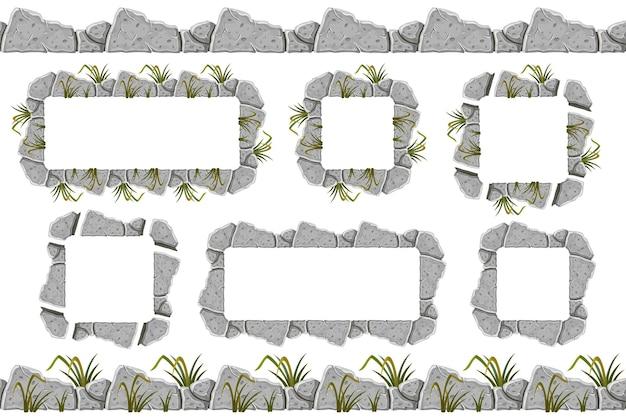 Satz alte graue felsenrandrahmen mit gras
