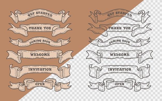 Satz alte vintage-bandfahnen und zeichnung im gravurstil