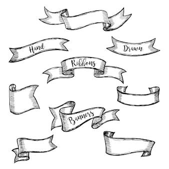 Satz alte weinlesebandfahnen und -zeichnung. hand gezeichnetes auslegungelement.