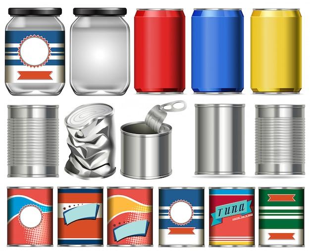 Satz aluminiumdosen mit etikettendesign auf weißem hintergrund
