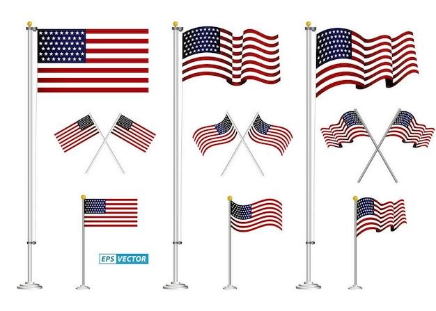Satz amerikanischer flaggenclipart lokalisierter env-vektor