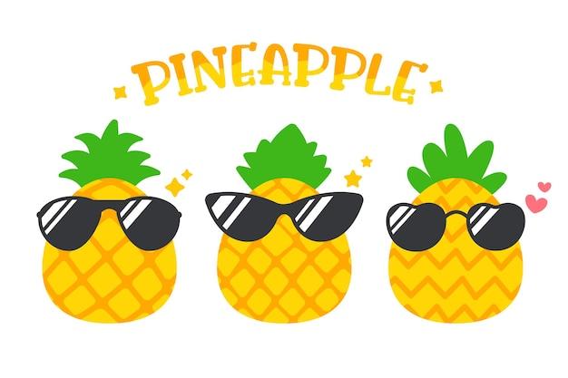 Satz ananas mit sonnenbrille