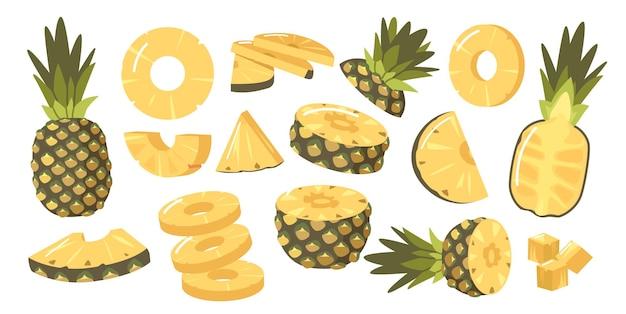 Satz ananas, reife gesunde organische produktgestaltungselemente, frische tropische pflanze. ganze, halbe und geschnittene natürliche früchte mit saftigem fruchtfleisch, isolated on white background. cartoon-vektor-illustration
