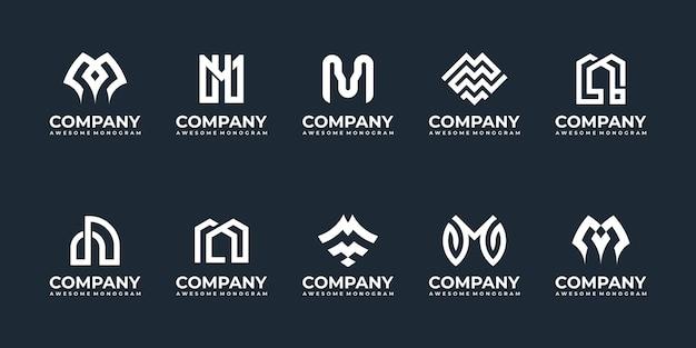 Satz anfangsbuchstaben m monogramm logo design-vorlagen