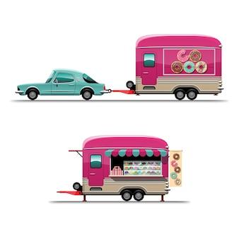 Satz anhänger food truck mit donut mit großer seite des autos, flache illustration des zeichenstils auf weißem hintergrund