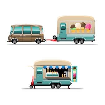 Satz anhänger food truck mit eiscreme mit menübrett, zeichnungsart flache illustration auf weißem hintergrund