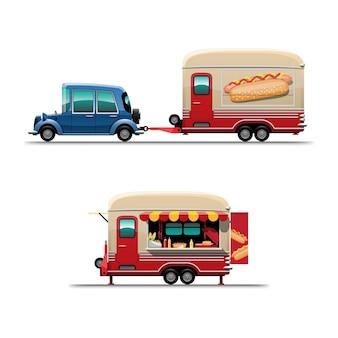Satz anhänger-imbisswagen auf seitenansicht mit menü-hotdog, großer hotdoc auf der seite des autos, illustration
