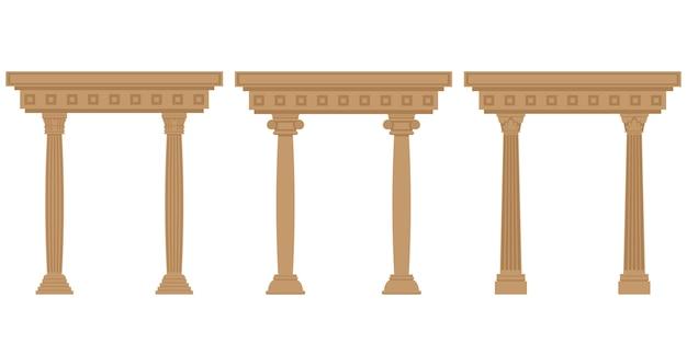 Satz antiker bögen. architekturobjekte im flachen stil lokalisiert auf weißem hintergrund.
