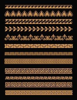 Satz antiker griechischer ränder und nahtloser verzierungen in der goldenen farbe auf schwarzem hintergrund im flachen stil. griechenland konzeptelemente.
