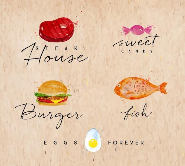 Satz aquarell beschriftet steakhaus