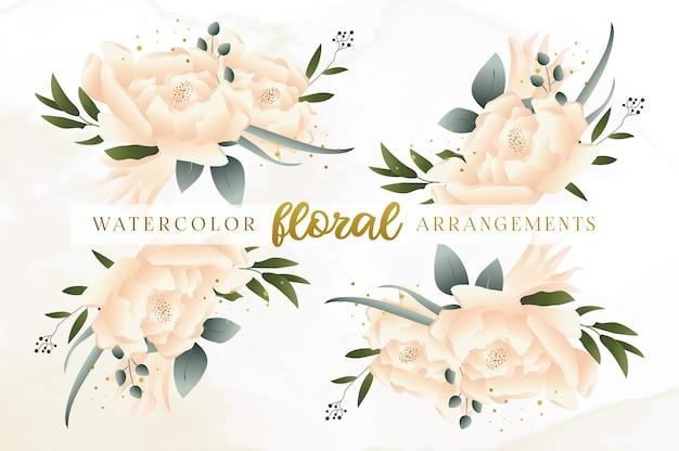 Satz aquarell-blumenarrangements