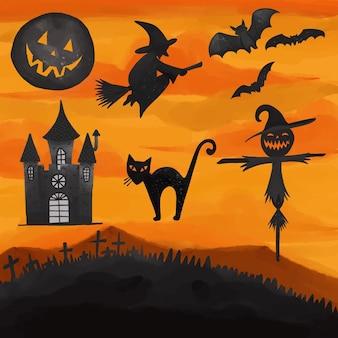 Satz aquarell gemalte halloween-tagescliparts. handgezeichnete isoliert auf weißem hintergrund.