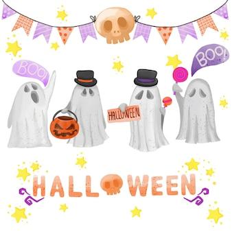 Satz aquarell gemalter halloween-tag, süßes oder saures cliparts. handgezeichnete isoliert auf weißem hintergrund.