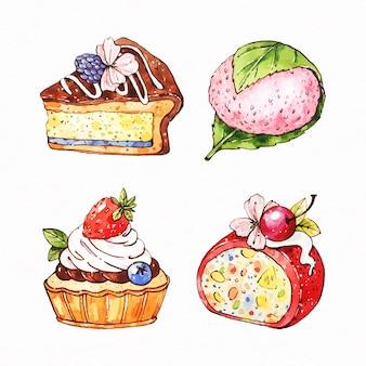 Satz aquarell japanisches dessert