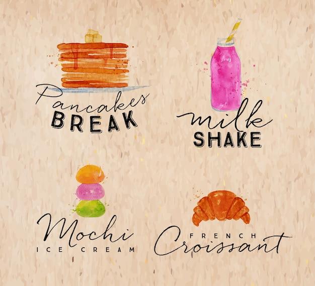 Satz aquarellaufkleber, die pfannkuchen beschriften, brechen