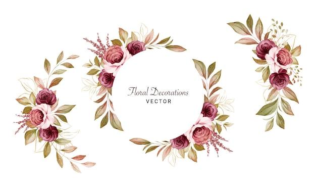 Satz aquarellblumenarrangements von braunen und burgunderroten rosen und blättern. botanische dekorationsillustration für hochzeitskarte