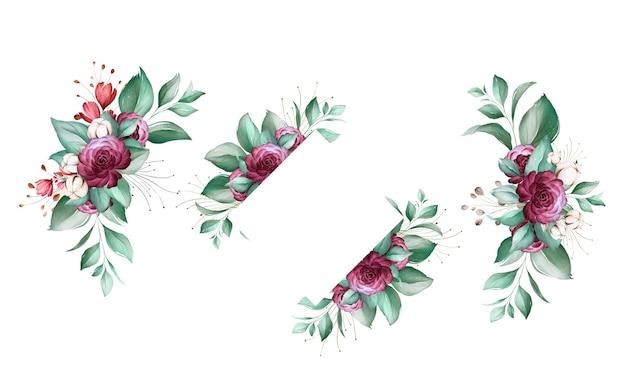 Satz aquarellblumenarrangements von braunen und burgunderroten rosen und blättern.