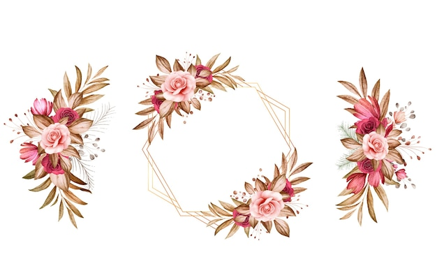 Satz aquarellblumenarrangements von braunen und burgunderroten und braunen rosen und blättern.