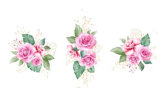 Satz aquarellblumendekorationsvektor der rosa und lila rosenblumen und der goldblätter.