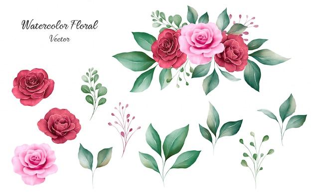 Satz aquarellblumenelementvektor von pfirsich- und burgunderrosenblumen und -blättern mit blumenstrauß.