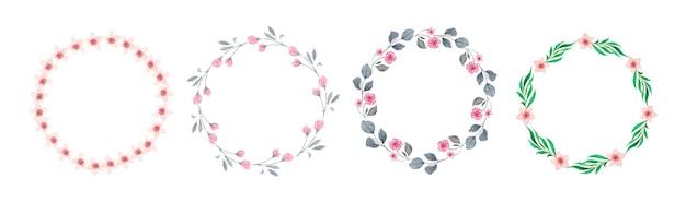 Satz aquarellblumenkränze