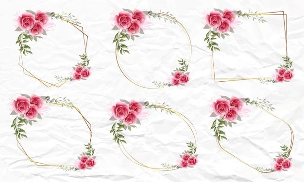 Satz aquarellblumenrahmen für hochzeit
