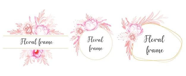 Satz aquarellblumenrahmenanordnungen von pfirsichrose mit braunen blättern