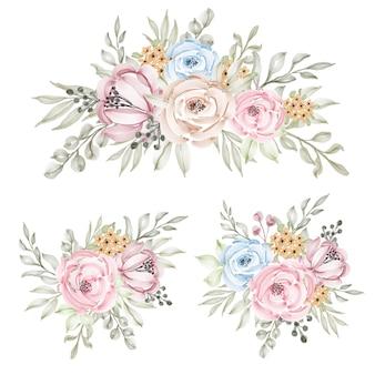 Satz aquarellblumenrahmensträuße der blauen und pfirsichrosen und -blätter. botanische dekorationsillustration für hochzeitskarte
