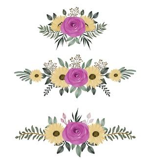 Satz aquarellblumenrahmensträuße