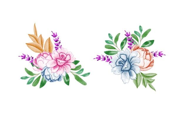 Satz aquarellblumenrahmenstrauß mit schöner blume