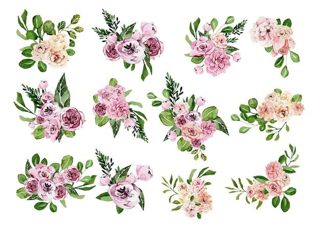 Satz aquarellblumensträuße für einen besonderen anlass